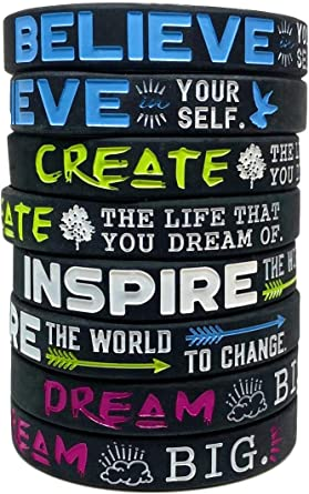 Inspire Dream Believe Motivational Quote Bracelets Silicone Rubber Wristbands Inspirational Gifts and Party Favors Create 12-Pack
