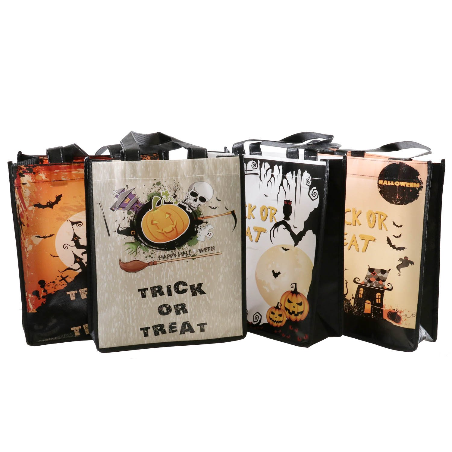 Party Favor Pack of 4 Halloween Tote Bags Vowol Halloween Trick or Treat Candy Bags