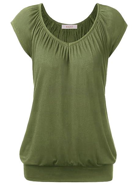 WAJAT - Camiseta Blusa para Mujer Escote Pico Verde Large