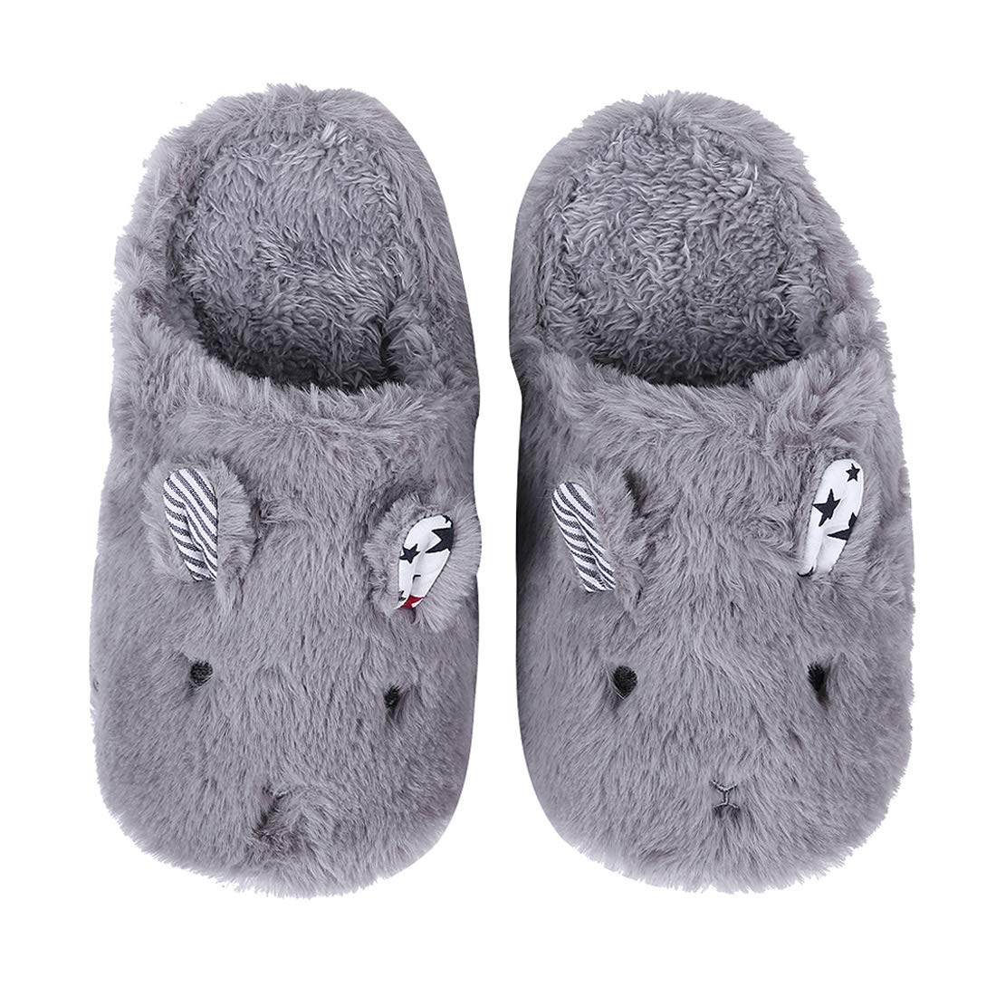 Cute Animal House Slippers Hedgehog Dog Family Indoor Slippers Waterproof Sole Fuzzy Bedroom Slippers for Kids 08G-XS