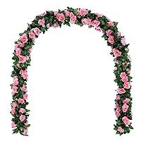 Attvn 2PCS 16piedi rosa artificiale vite ghirlanda di fiori finti per matrimonio casa festa in giardino decorazione