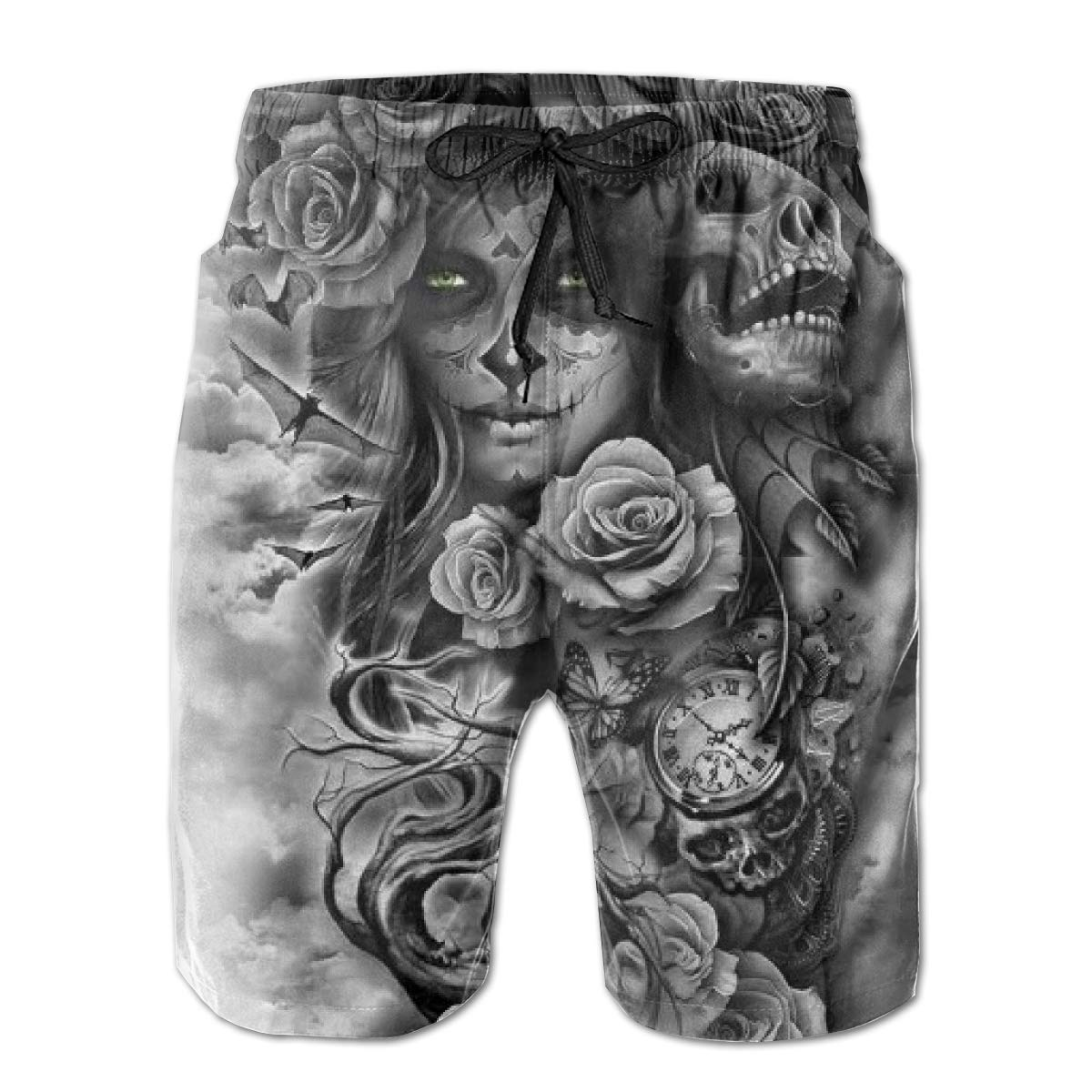 RYHT Black Suger Skull Mens Summer Beach Quick-Dry Surf Swim Trunks Boardshorts Cargo Pants