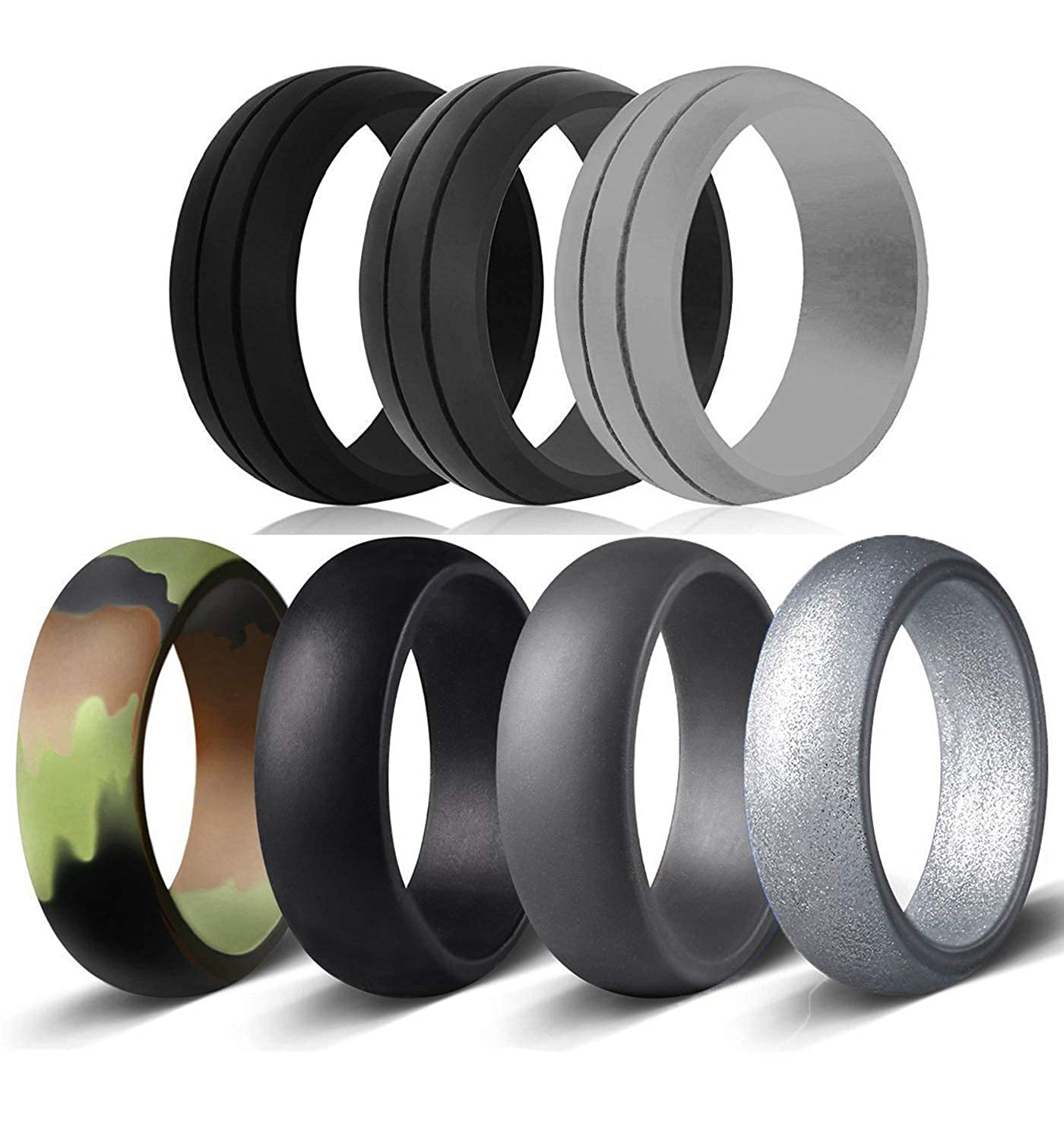 OKLICH Silicone Rings 7 Pack Men's Women's Wedding Band Flexible Work Safety Save Your Finger Rubber Rings