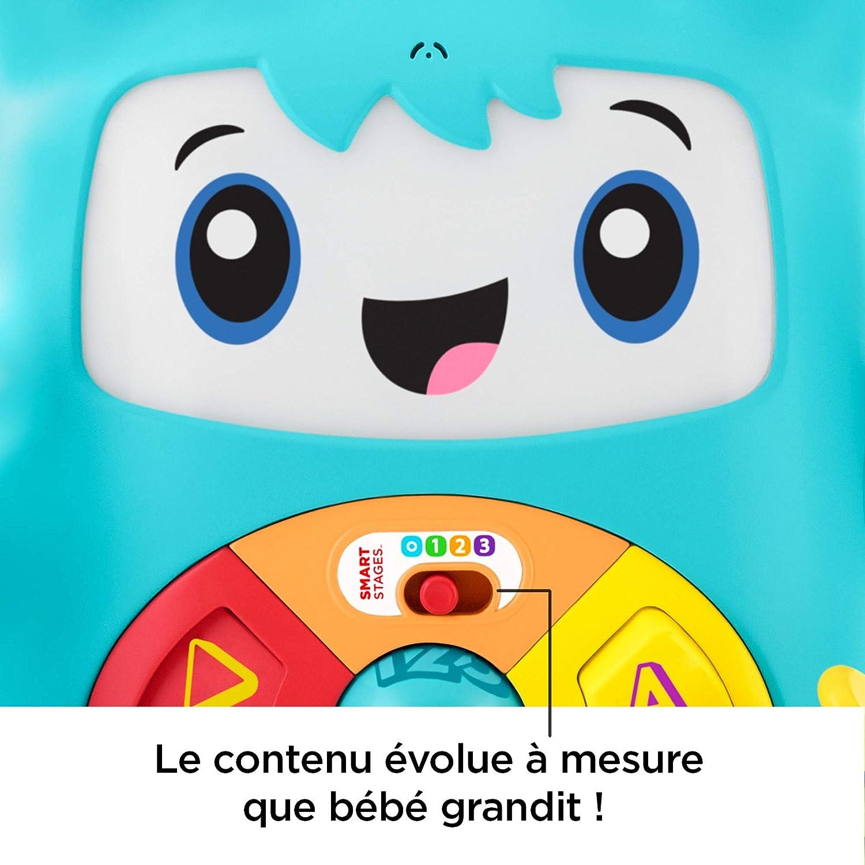 Fisher-Price Mon Ami Rocki robot interactif jouet sons et lumi/ères pour apprendre /à b/éb/é les lettres et les formes version fran/çaise FXD01 6 mois et plus