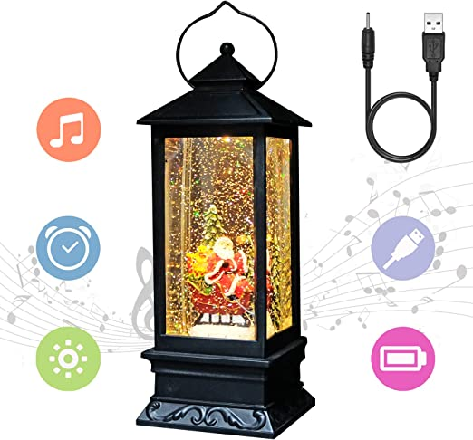Amazon Com Eldnacele Line In Snow Globe Lantern With Music And Timer Christmas Decorative Glittering Lantern Light Lamp For Adults And Kids Santa Claus Home Kitchen