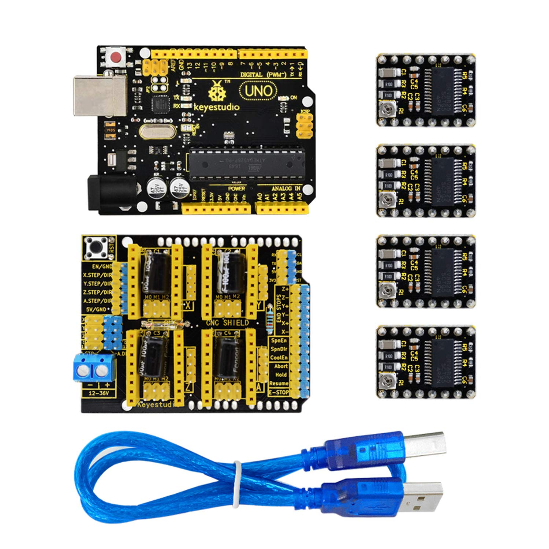 keyestudio CNC Diy Kit-GRBL CNC Shield V3+4pcs DRV8825 Stepper Motor Driver+Usb Cable+Uno R3 Controller for Arduino keys