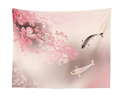 85350c3a4 Lunarable Koi Fish Tapestry, Sakura Blossom in Japan with Sacred Creature  Asian Culture Lovely Nature