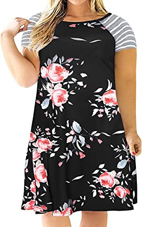 Kancystore Women's Floral Short Sleeve Plus Size T-Shirt Dress Casual A-Line Dress