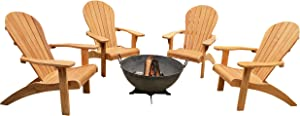TITAN GREAT OUTDOORS Grade A Teak Four Adirondack Chairs and 32 in Hemisphere Fire Pit