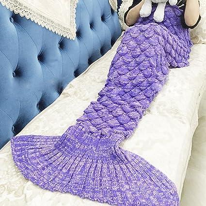 vkatech sirena Cola manta hecho a mano de punto manta, aire acondicionado manta sof¨