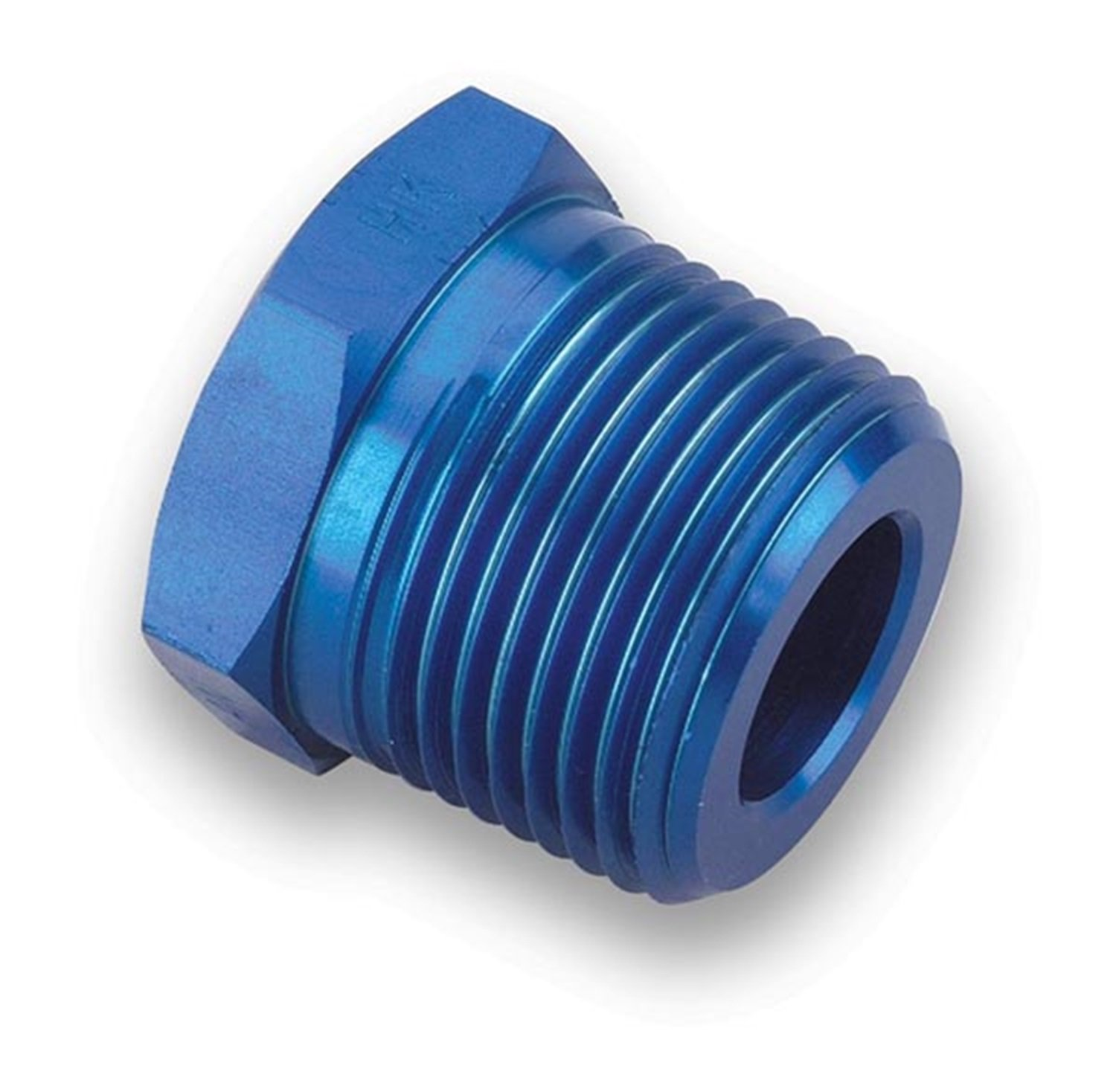 Earl's 991203 Blue Anodized Aluminum 1/8'' NPT Female to 3/8'' NPT Male Pipe Bushing Reducer by Earl's Performance