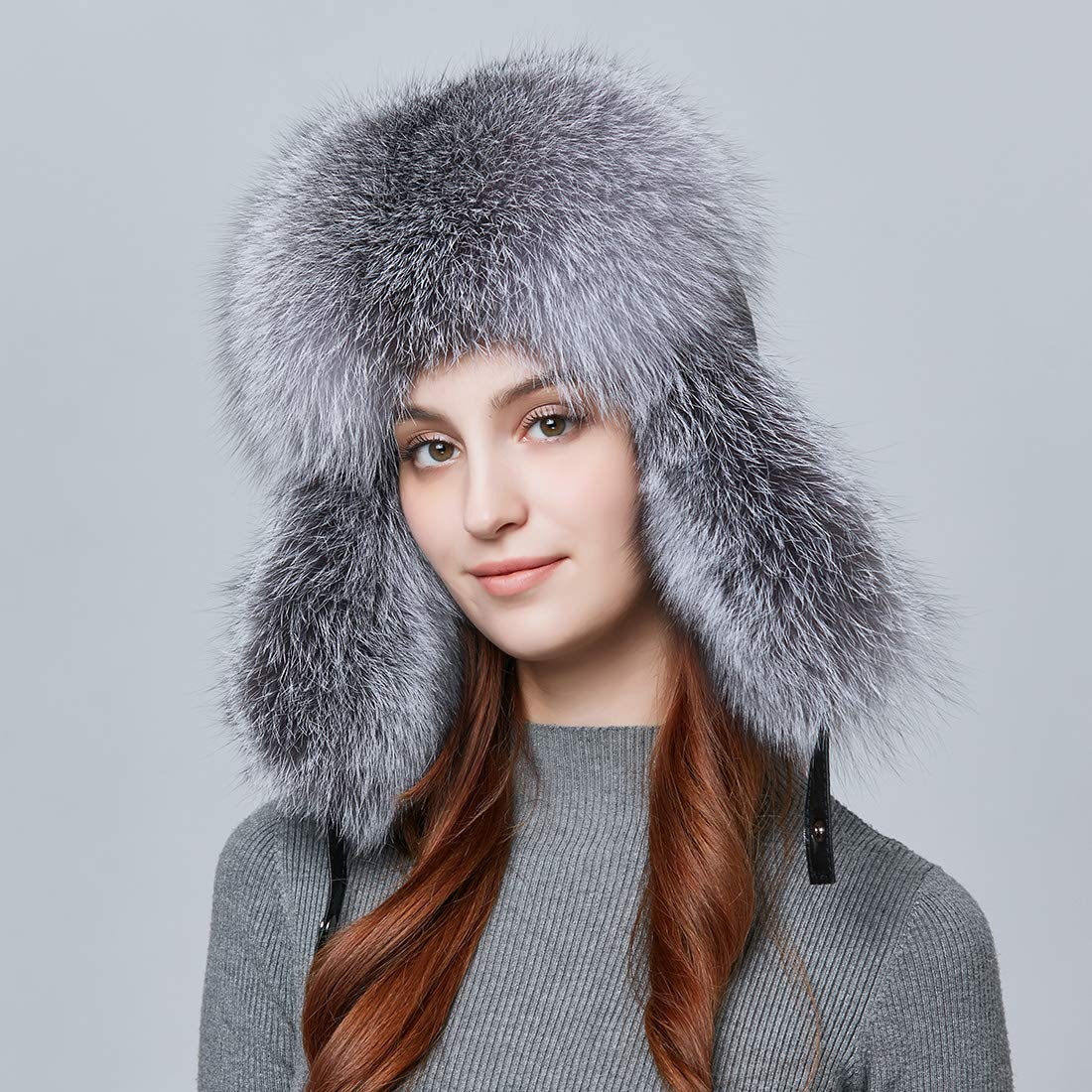 BeFur Fashion Women Winter Warm Fox Fur Lamb Leather Caps Bomber Hat Russian Protection Patchwork Causal Hat Caps by BeFur (Image #2)