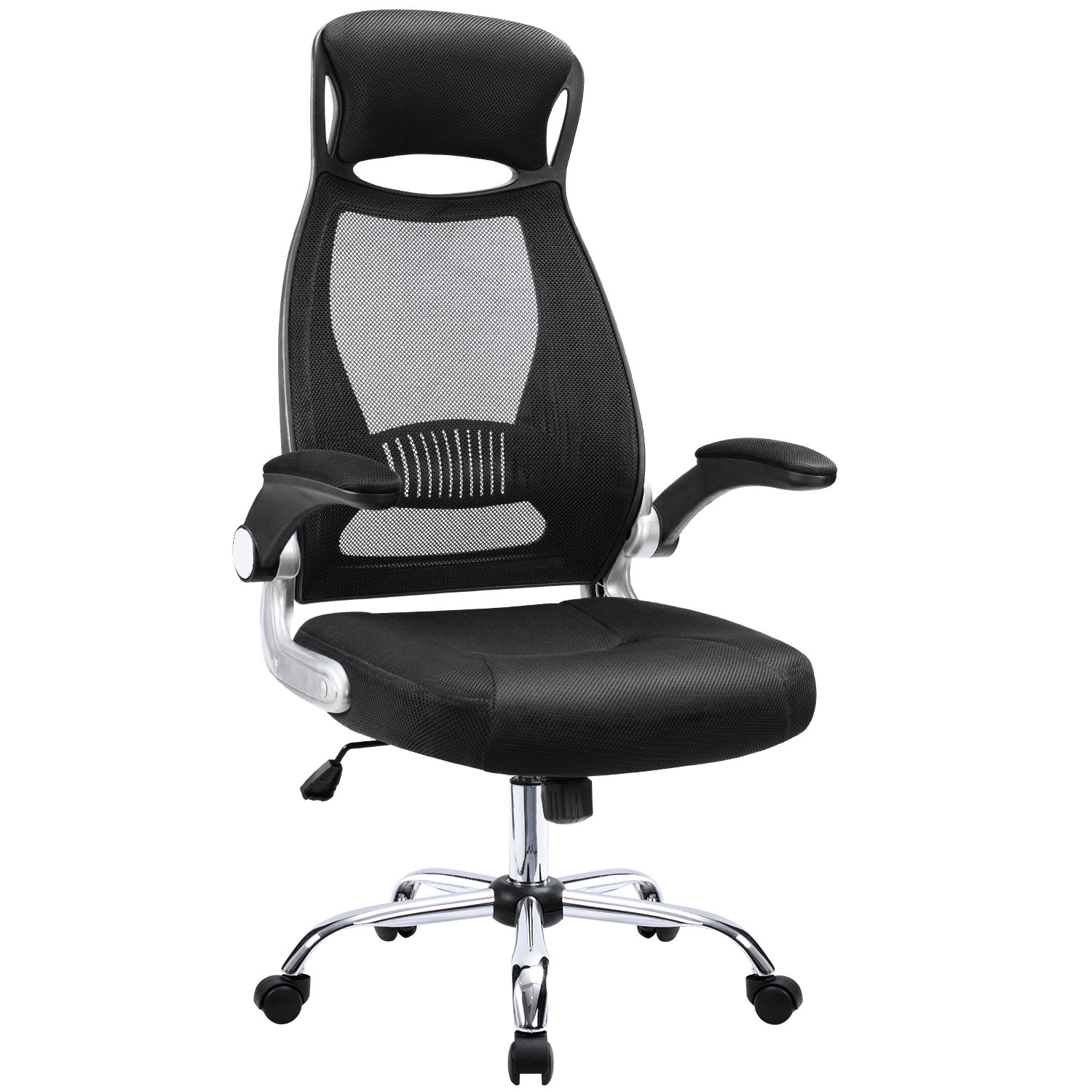 Furmax Mesh Office Chair High Back Desk Chair with Adjustable Armrest,Computer Swivel Task Chair with Ergonomic Headrest(Black)