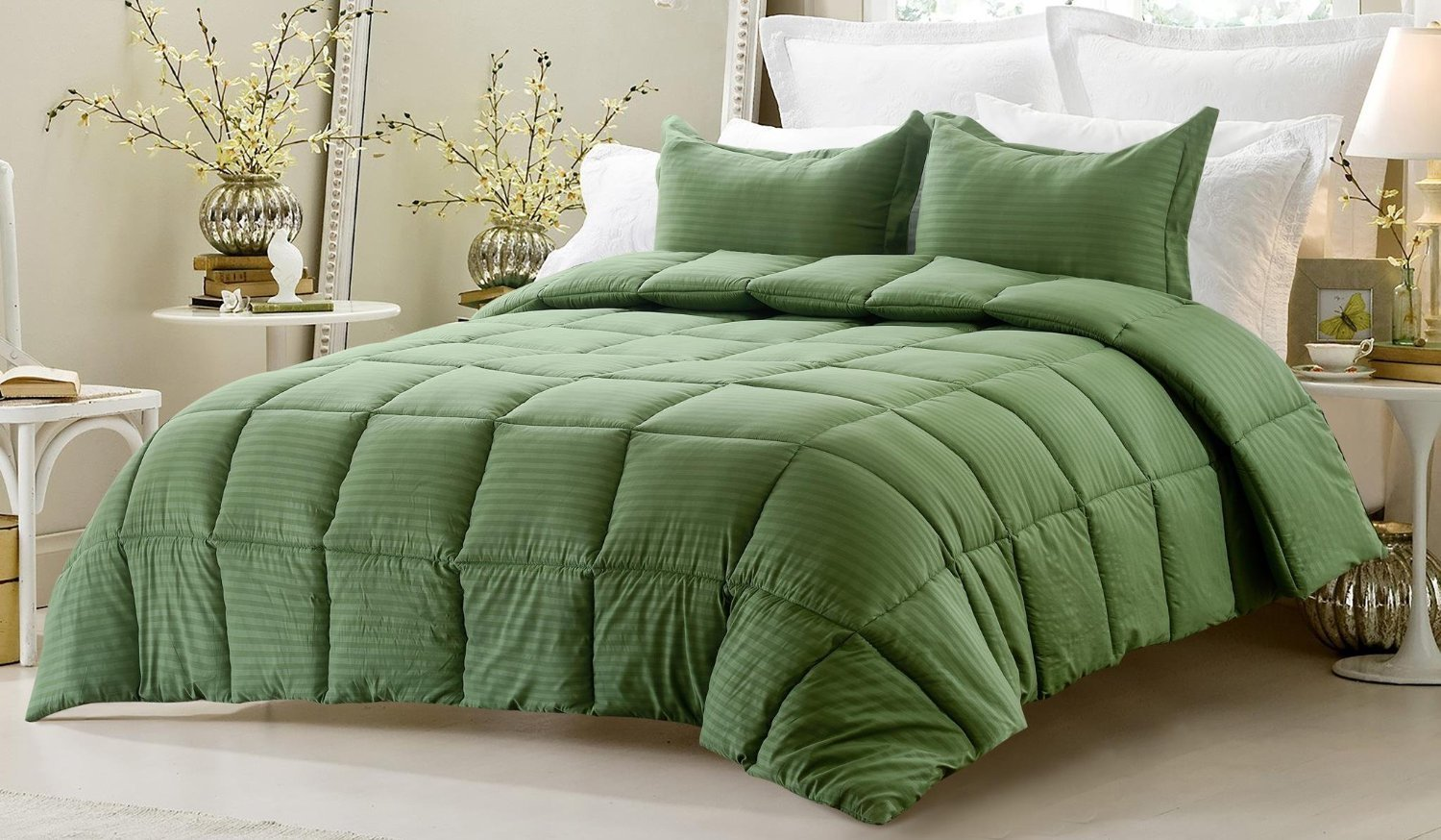 new dp home set uk co kitchen bed kingsize bedding linen white green ruffles cover duvet amazon