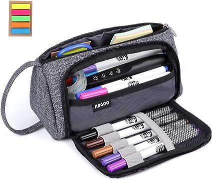 Estuche,DIAOCARE Estuche Escolar Dos Compartimentos+notas adhesivas,Multifuncional,Multicolor, 20 cm (gris): Amazon.es: Oficina y papelería