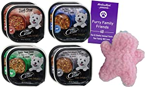 Cesar Home Delights Dog Food 4 Flavor 8 Can Variety - (2) Each: Beef Stew, Pot Roast, Turkey Green Beans, Grilled Porterhouse Potato Bacon (3.5 Ounces) - Plus Squeak Toy and Fun Facts Booklet Bundle