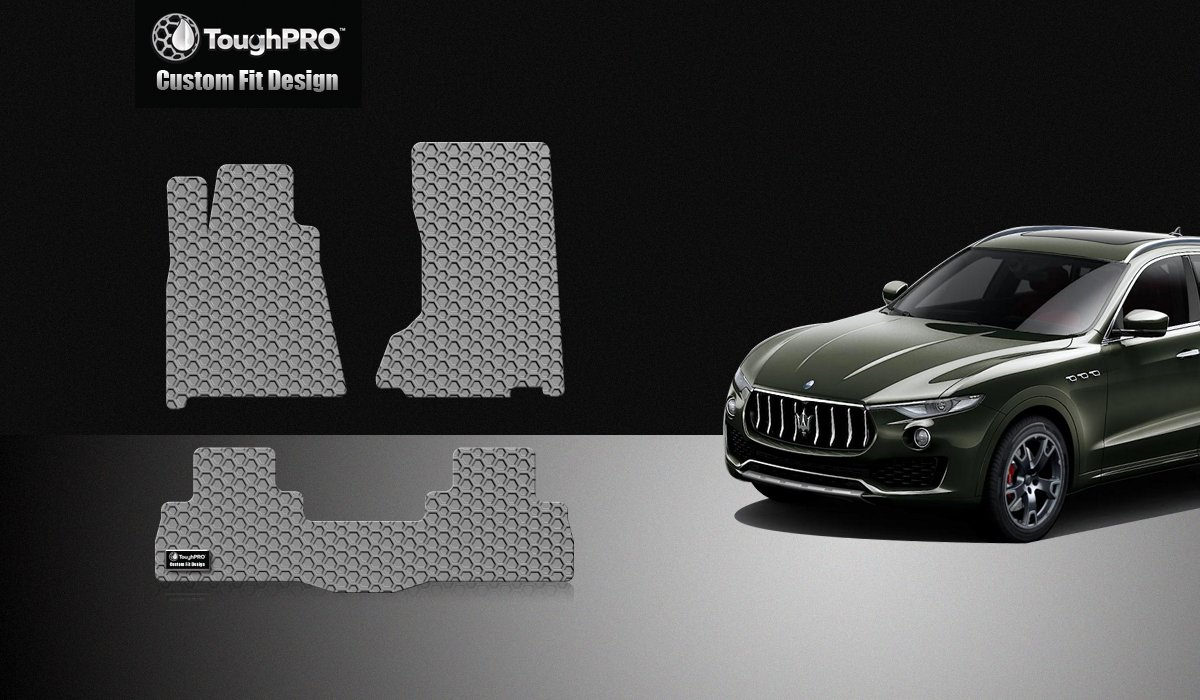ToughPRO Maserati Levante Floor Mats 2017-2018-2019 Black Rubber Dont Fit Model with Optional Four-Zone Climate Control All Weather- Heavy Duty AUTO MATS ZONE INC