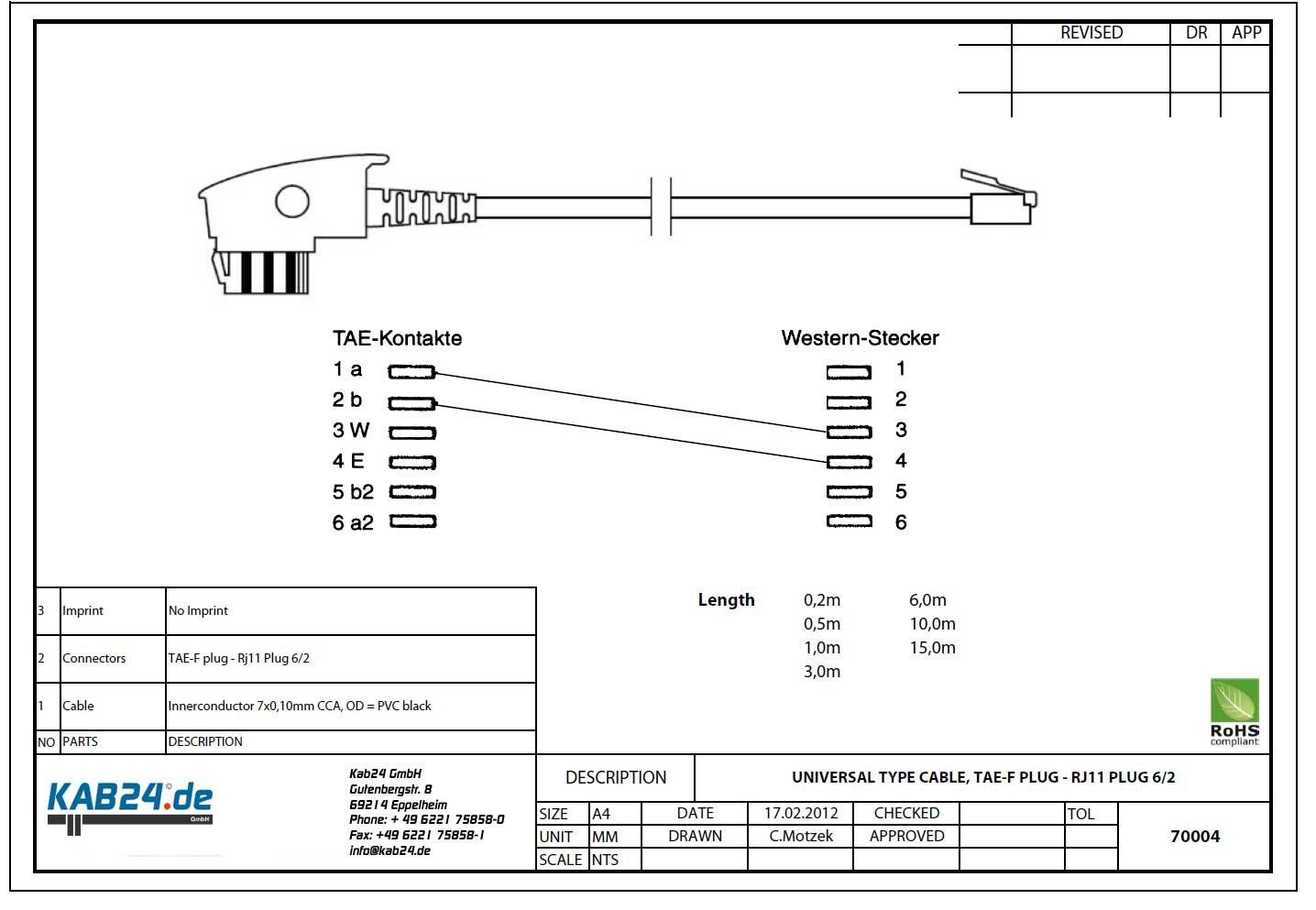 Kab24® Telefonkabel Modularkabel: Amazon.de: Elektronik