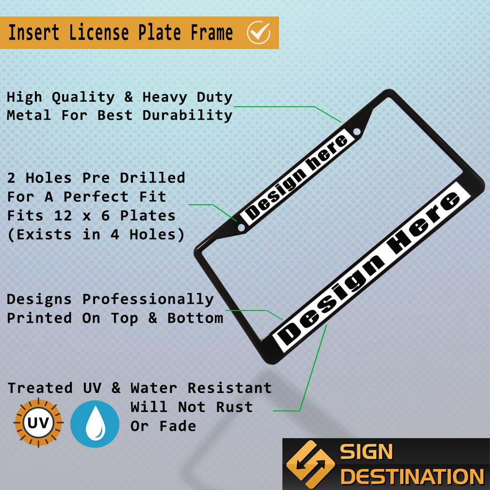 Sign Destination Metal Insert License Plate Frame Id Rather Be Trail Riding Weatherproof Car Accessories Chrome 2 Holes Solid Insert 1 Frame