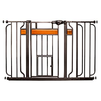 Carlson Design Paw Extra Wide Pet Door Pressure Mount Pet Gate In Black With