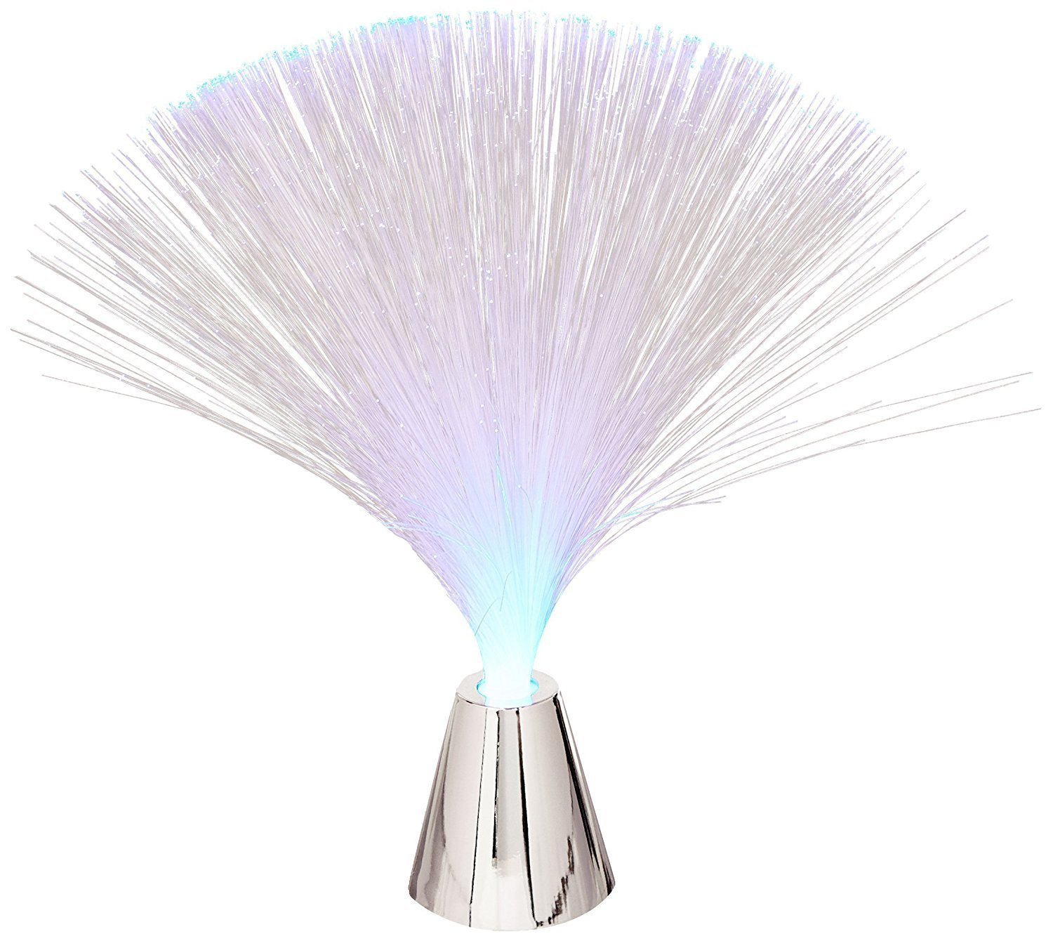 Battery-Operated LED Fiber Lamp with Chrome Base, Blue