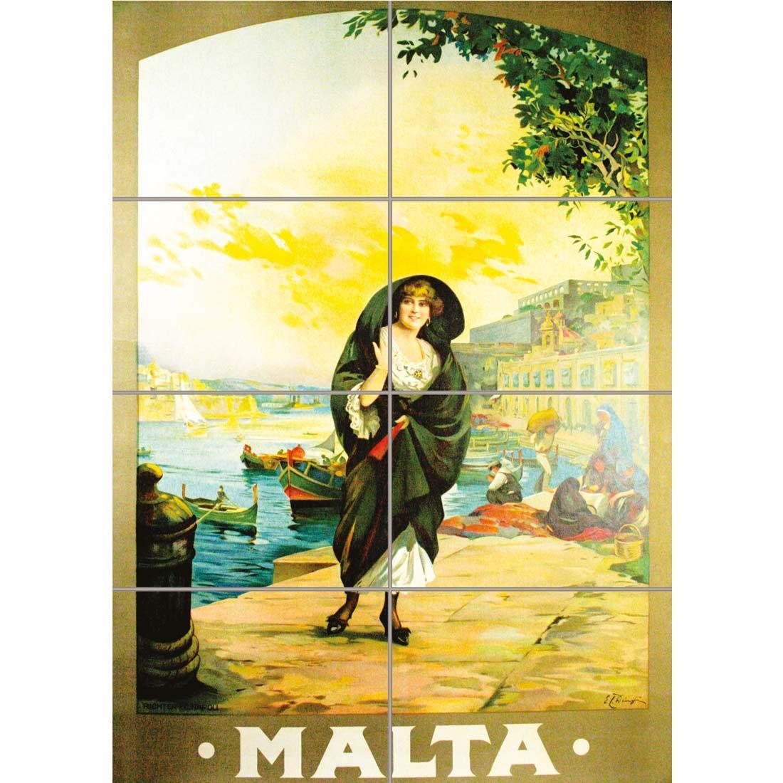 ANTIQUE MALTA ISLAND MEDITERRANEAN SEA HARBOUR BOAT Travel Canvas art Prints