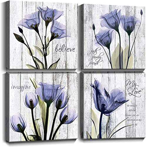 Purple Tulip Flowers Wall Art Living Room Decor Canvas Print Pictures12x12 Inch 4 Pieces Set Elegant Floral Inspirational Quotes Artwork Christmas Lover Gifts Home Decorations Office Modern Paintings