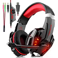 Auriculares Cascos Gaming Con Cable - Micrófono con Reducción de Sonido y Control de Volumen Gaming Headset con Conector jack 3.5mm y Luces led,Válidos para XBox One, PS4