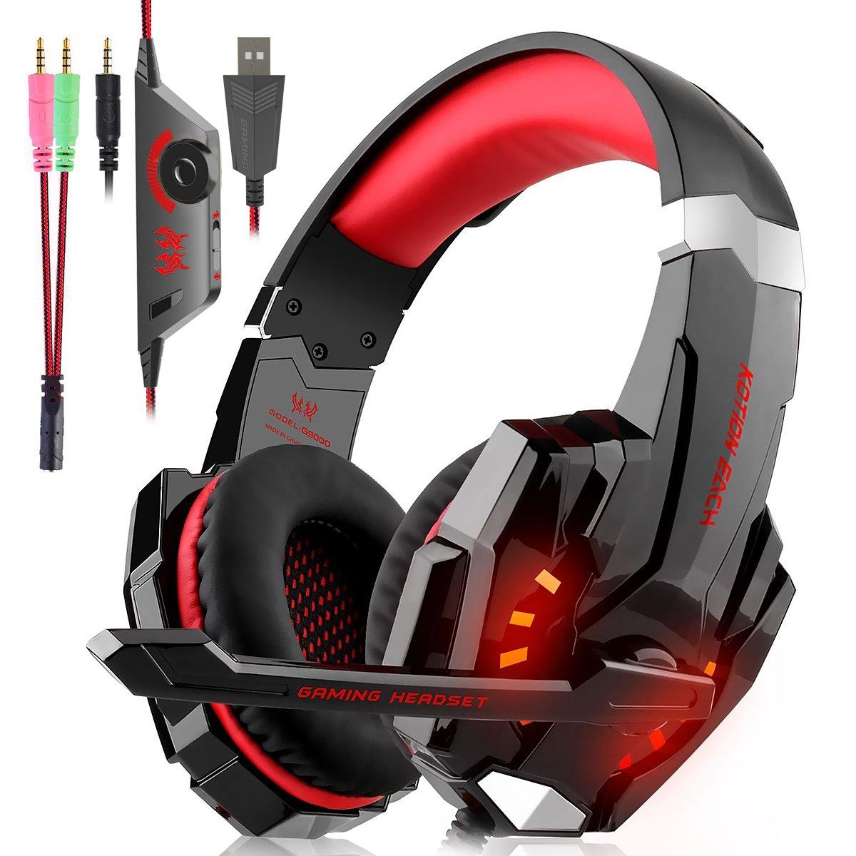 Auriculares Cascos Gaming Con Cable - Micró fono con Reducció n de Sonido y Control de Volumen Gaming Headset con Conector jack 3.5mm y Luces led,Vá lidos para XBox One, PS4 Válidos para XBox One GLAMSVILL