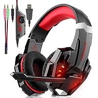 Auriculares Cascos Gaming Con Cable - SUPTEMPO Micrófono con Reducción de Sonido y Control de Volumen Gaming Headset con Conector jack 3.5mm y Luces led,Válidos para XBox One, PS4, Smartphones, PC, Portátiles.