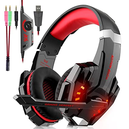 Gaming Headset für PS4 Xbox One PC, Gaming Kopfhörer mit Mikrofon, LED Light, Lautstärkeregler und LED Licht für PS4 Xbox One