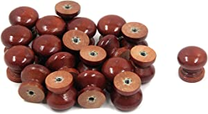 """Tulead Cabinet Knobs 0.87""""x0.87"""" Wooden Furniture Knobs Drawer Wardrobe Cupboard Bookcase Mini Pull Knobs Red Elm Mushroom Shape Knobs 20-Pack with Mounting Screws"""