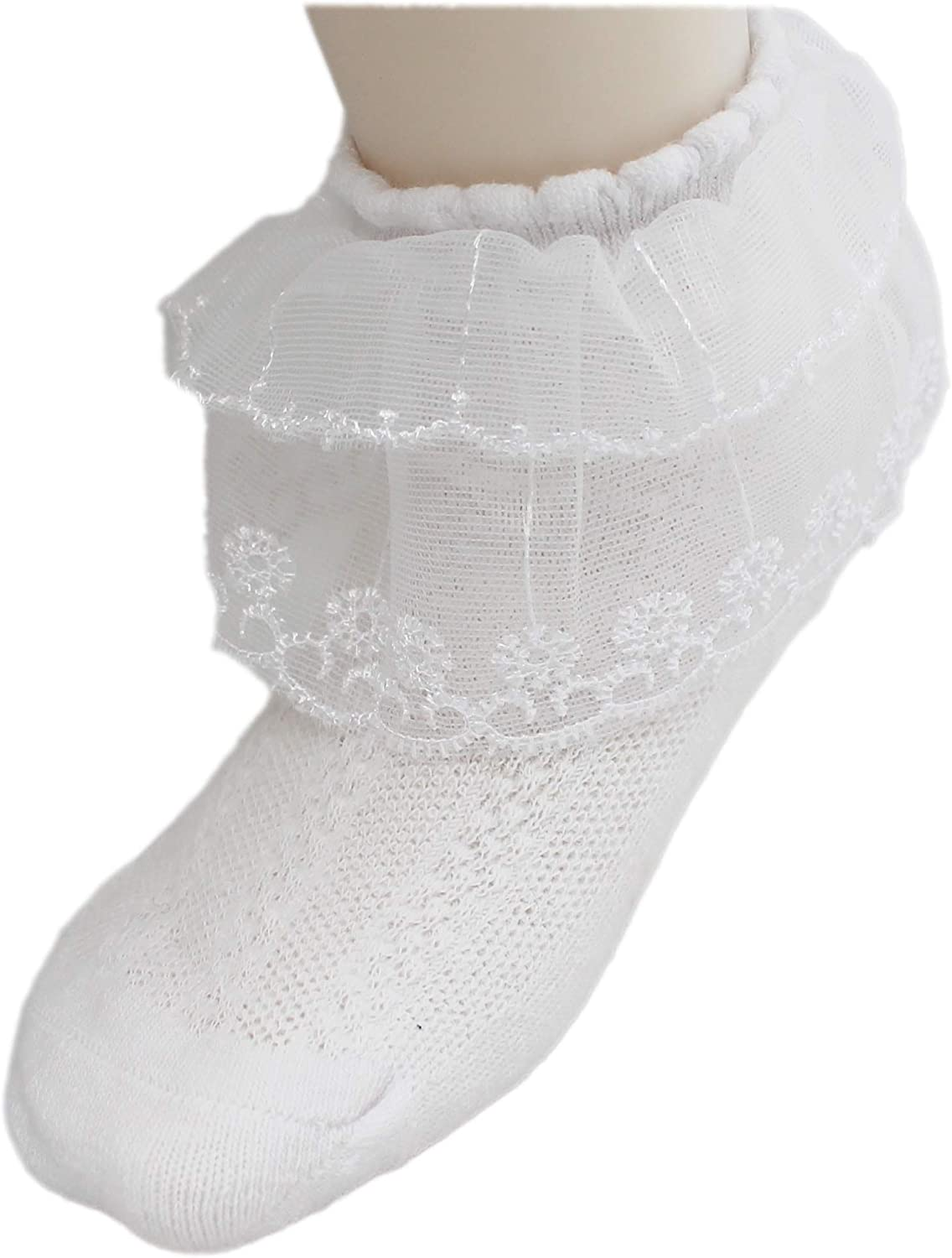2 Pairs Girls 2-tier Lace Frilly Ruffle Ankle White Summer School Socks Age 1-10