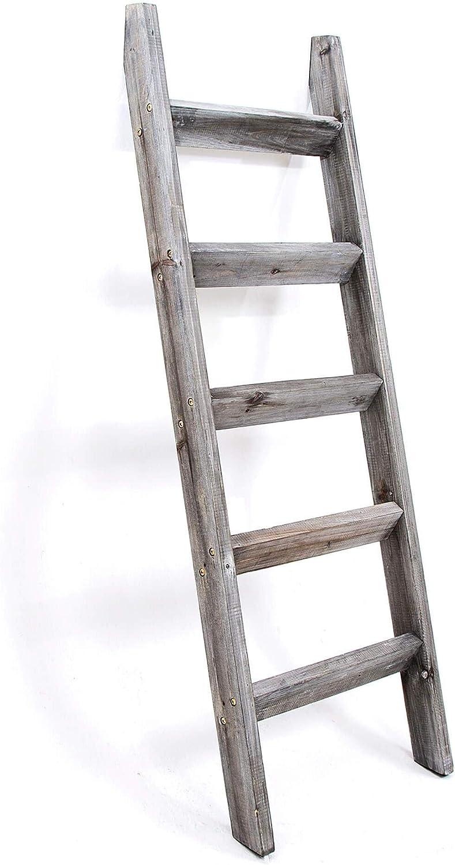 Hallops Blanket Ladder 11 ft. Premium Wood Rustic Decorative Quilt Ladder.  Gray White Vintage Wooden Decor. Throw Blankets Holder Rack