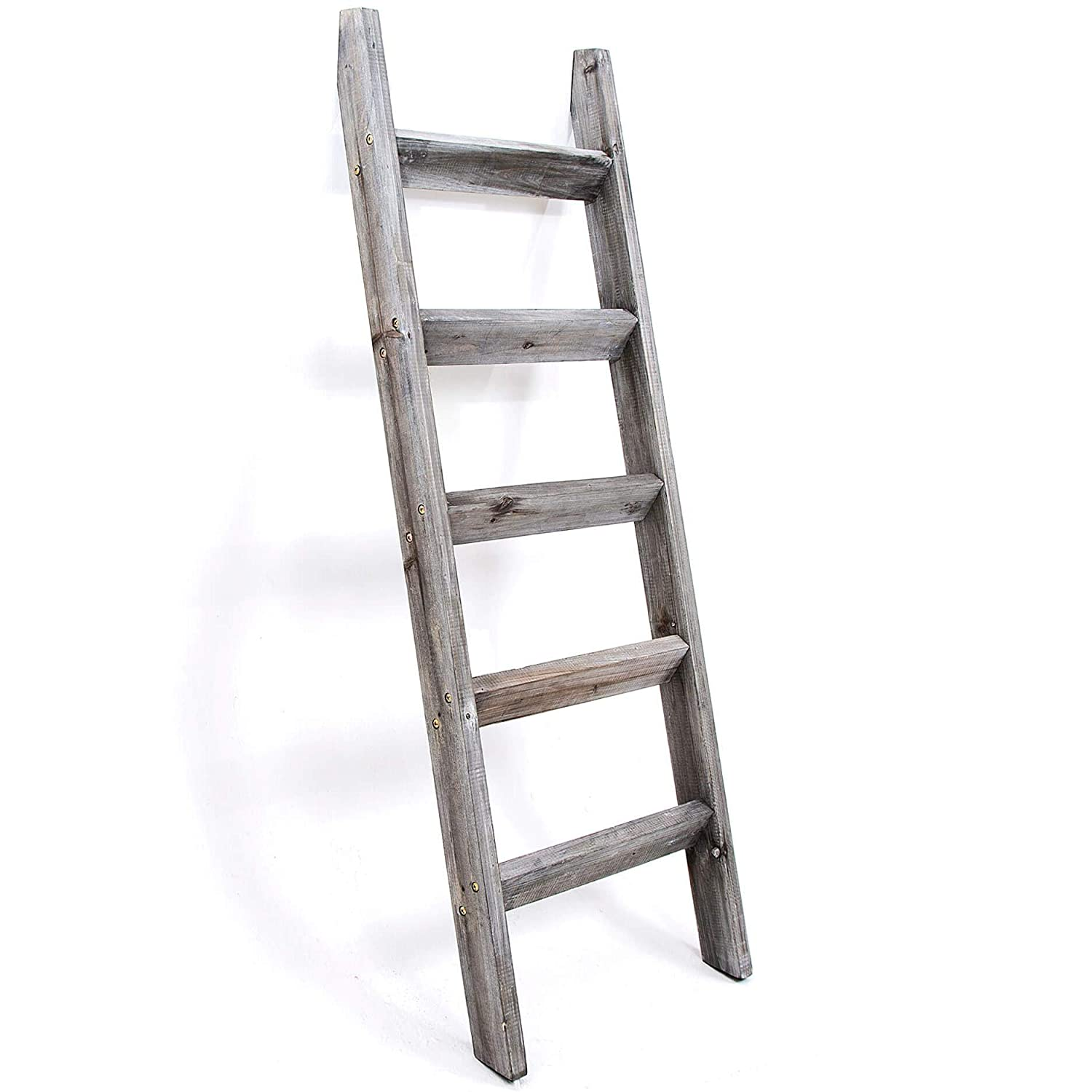 Hallops Blanket Ladder 5 ft. Premium Wood Rustic Decorative Quilt Ladder. White Vintage Wooden Decor. Throw Blankets Holder Rack