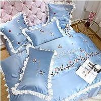 Satin Silk Bedding Set 【Free Express Shipping】 4 Pieces Queen King Full Size Blue Beautiful Luxury Comfortable Cute Girly Ruffles