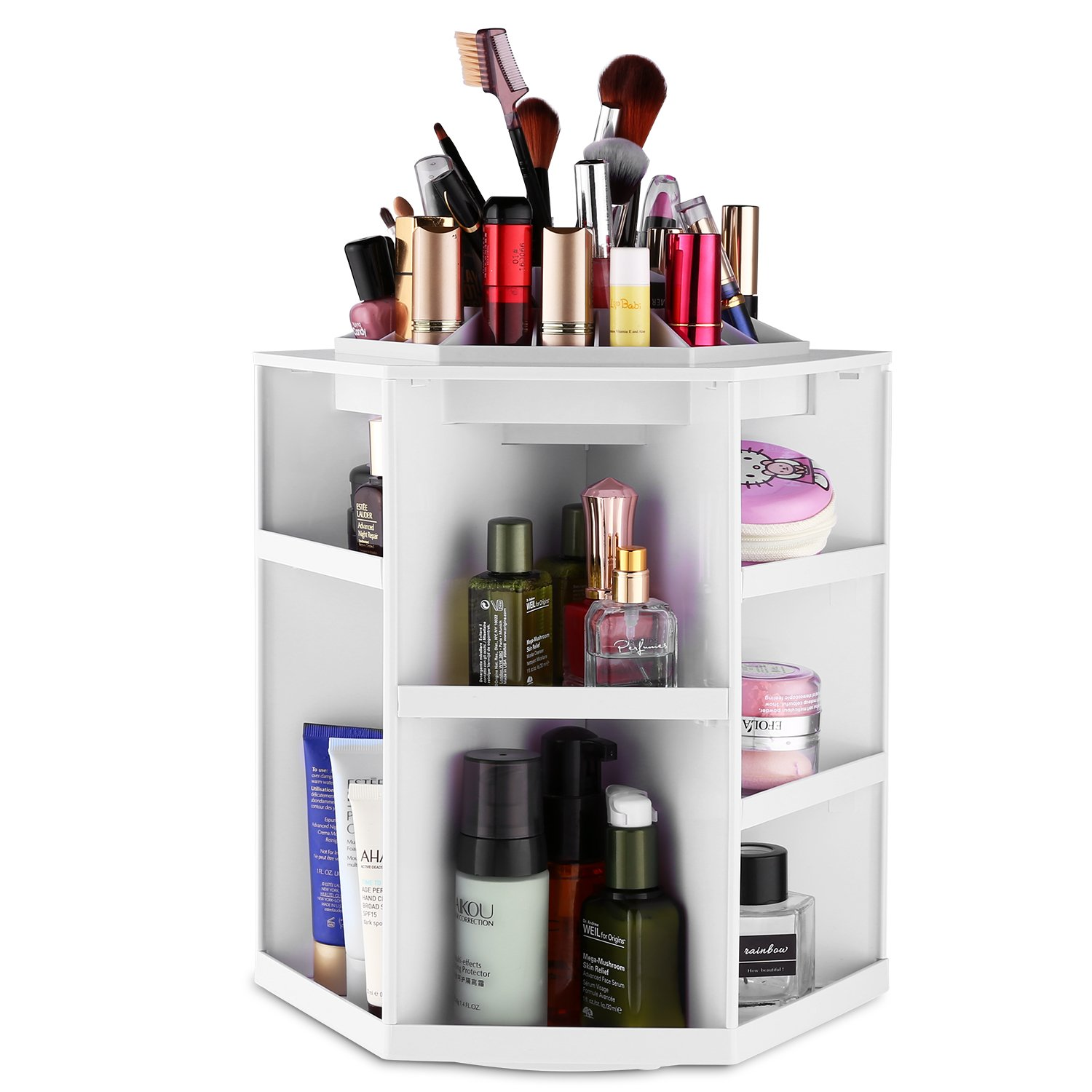 Homdox Makeup Organizer Tabletop 360° Rotating Cosmetics Storage Case