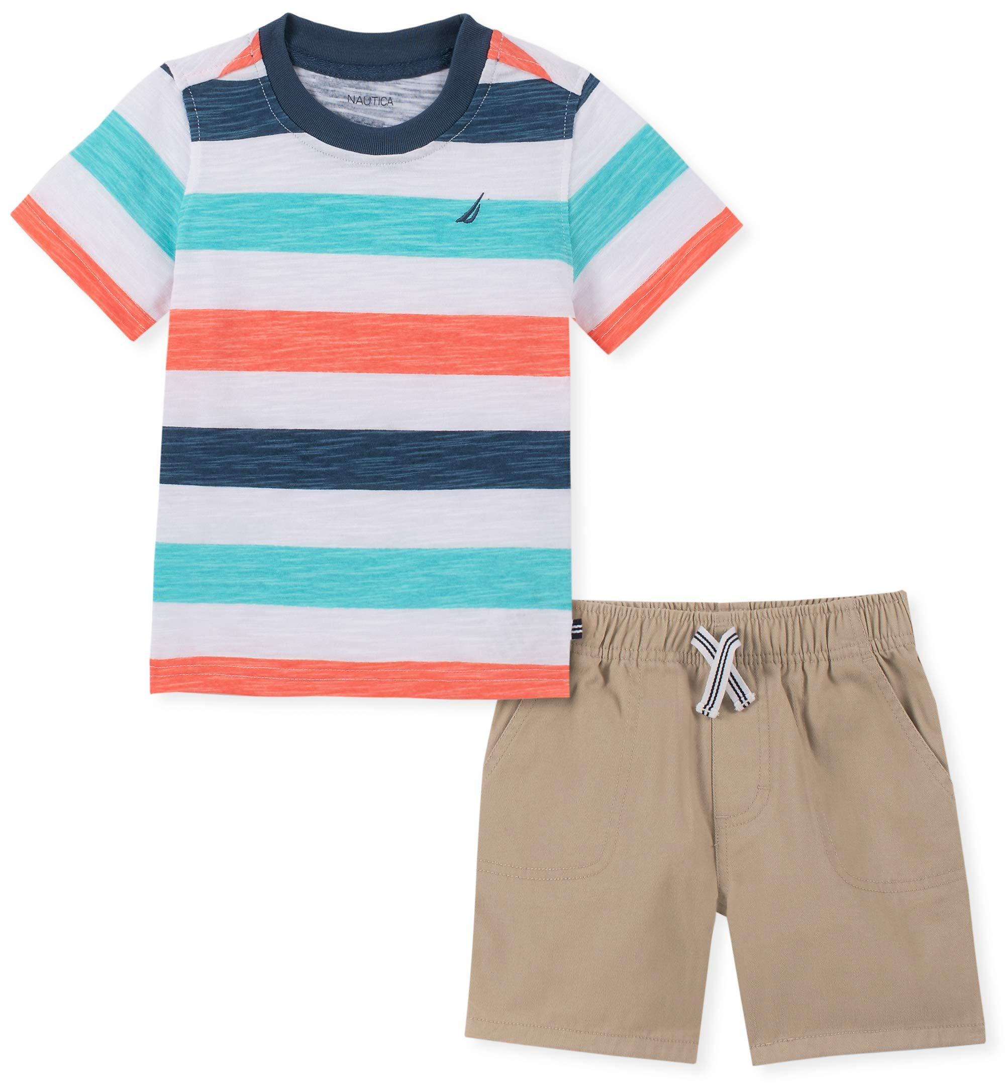 Nautica Sets (KHQ) Boys' Toddler 2 Pieces Shorts Set, Navy/Orange Stripes 3T