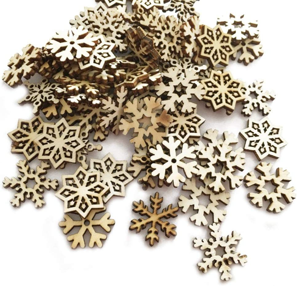 Happyyami 100pcs Assorted Wooden Snowflake Cutouts Craft Embellishment Gift Tags Christmas Hanging Ornaments for DIY Crafts
