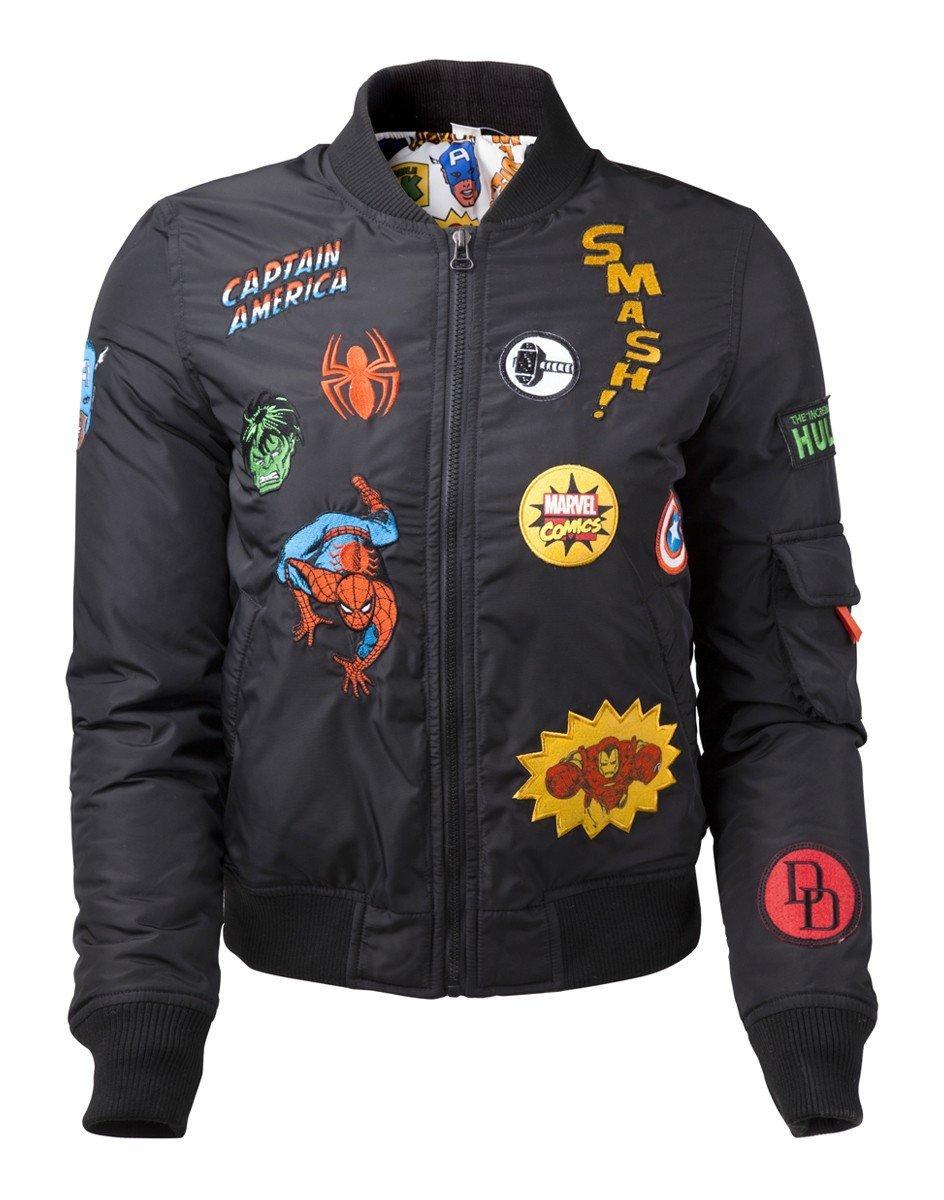 Marvel - Black Bomber Jacket with Hero Patches (Small) by FANCYTHAT & SCIFI PLANET