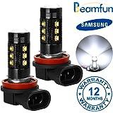 2x Fog Light Bulbs,BEAMFUN Samsung Serise H11 H8 H16 Type 2 LED DRL, 800LM per bulb,15-SMD 6000K Xenon White