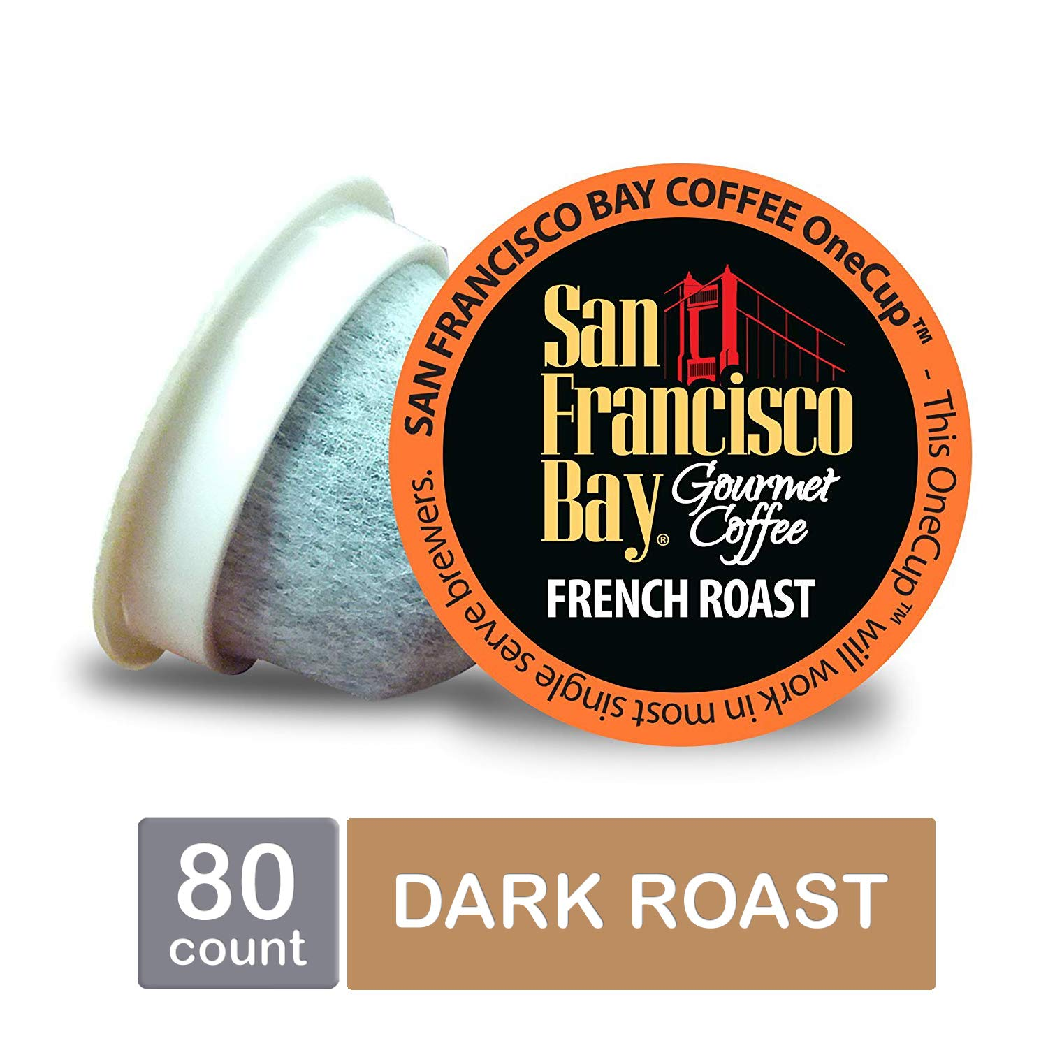 San Francisco Bay OneCup, French Roast, Single Serve Coffee K-Cup Pods, Keurig Compatible, 80 Count by SAN FRANCISCO BAY