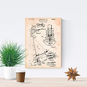 Nacnic Prints Vintage Patents Wind Surf Board - Set of 1 - Unframed 11x17 inch Size - 250g Paper - Beautiful Poster Painting for Home Office Living Room