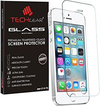 reputable site 9024b c2a7b TECHGEAR GLASS Edition for iPhone SE / 5s / 5c / 5 - Genuine Tempered Glass  Screen Protector Guard Cover Compatible with Apple iPhone SE / 5s / 5c / 5