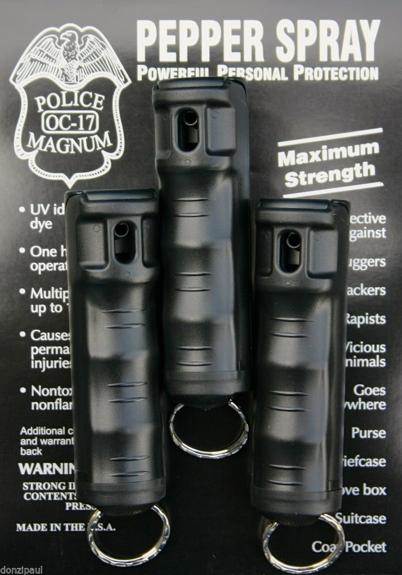 Police MAGNUM 3 PEPPER SPRAY 1/2oz BLACK Flip Top Molded Keychain Security Self Defense Strength