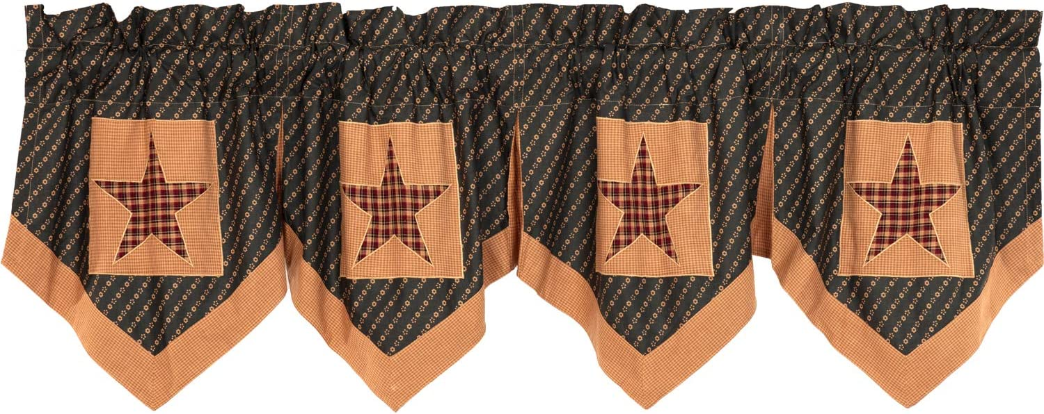 VHC Brands Primitive Kitchen Curtains Patriotic Patch Rod Pocket Cotton Hanging Loops Appliqued Star 20x72 Valance, Deep Red