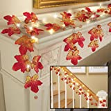 Collections Etc Lighted Harvest Maple Leaf Garland
