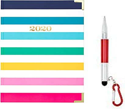 2020 1 Year Rainbow Stripe Monthly PLANNER Calendar Large Agenda Organizer Blue