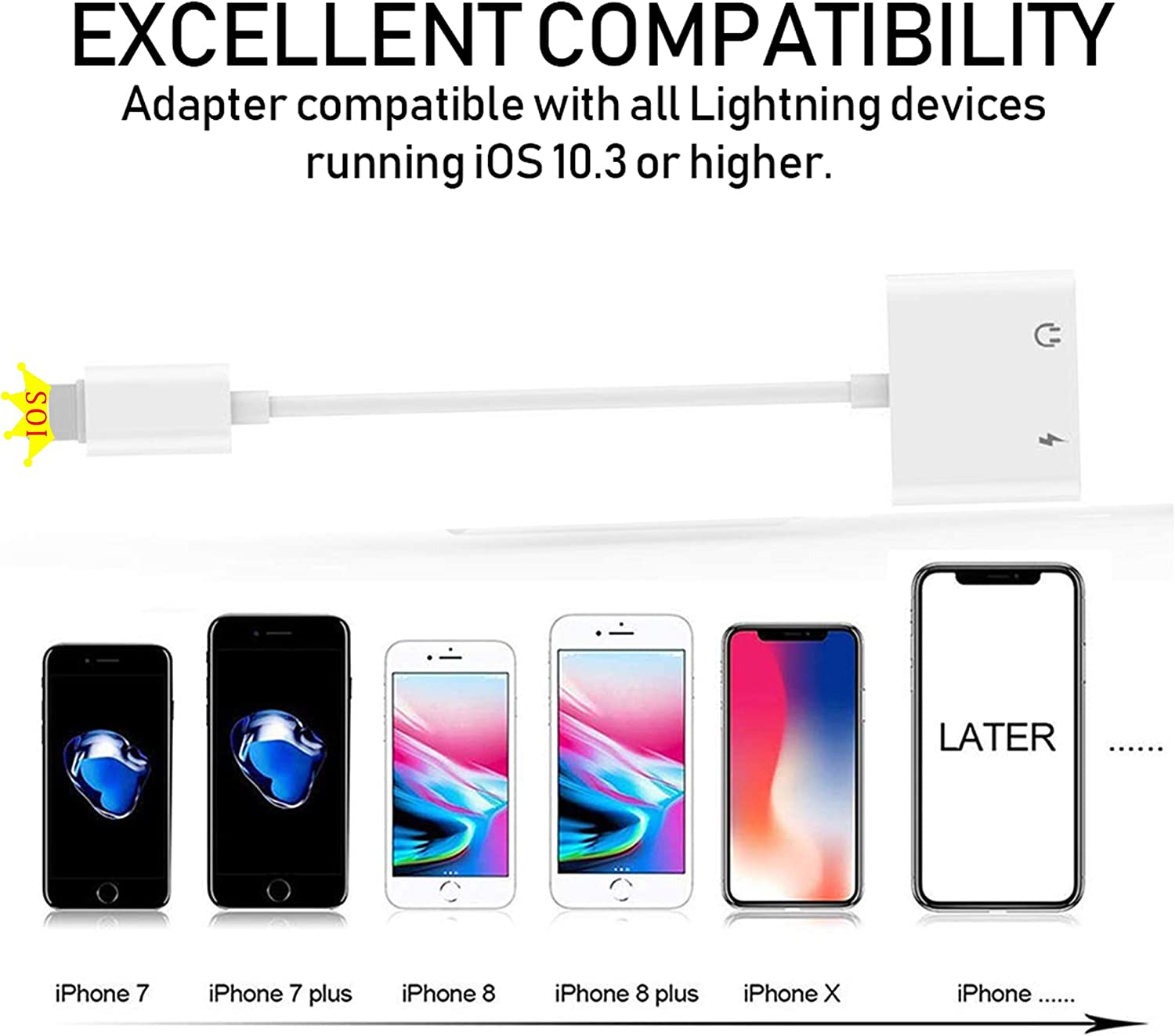 2 in 1 Dual Lightning iPhone Adapter /& Splitter iPad-iOS 13 Adapter Dual Converter Cable Headphone Music+Charge+Call+Volume Control Compatible for iPhone 11//11 Pro//XS//XR//X 8//7 Apple MFi Certified