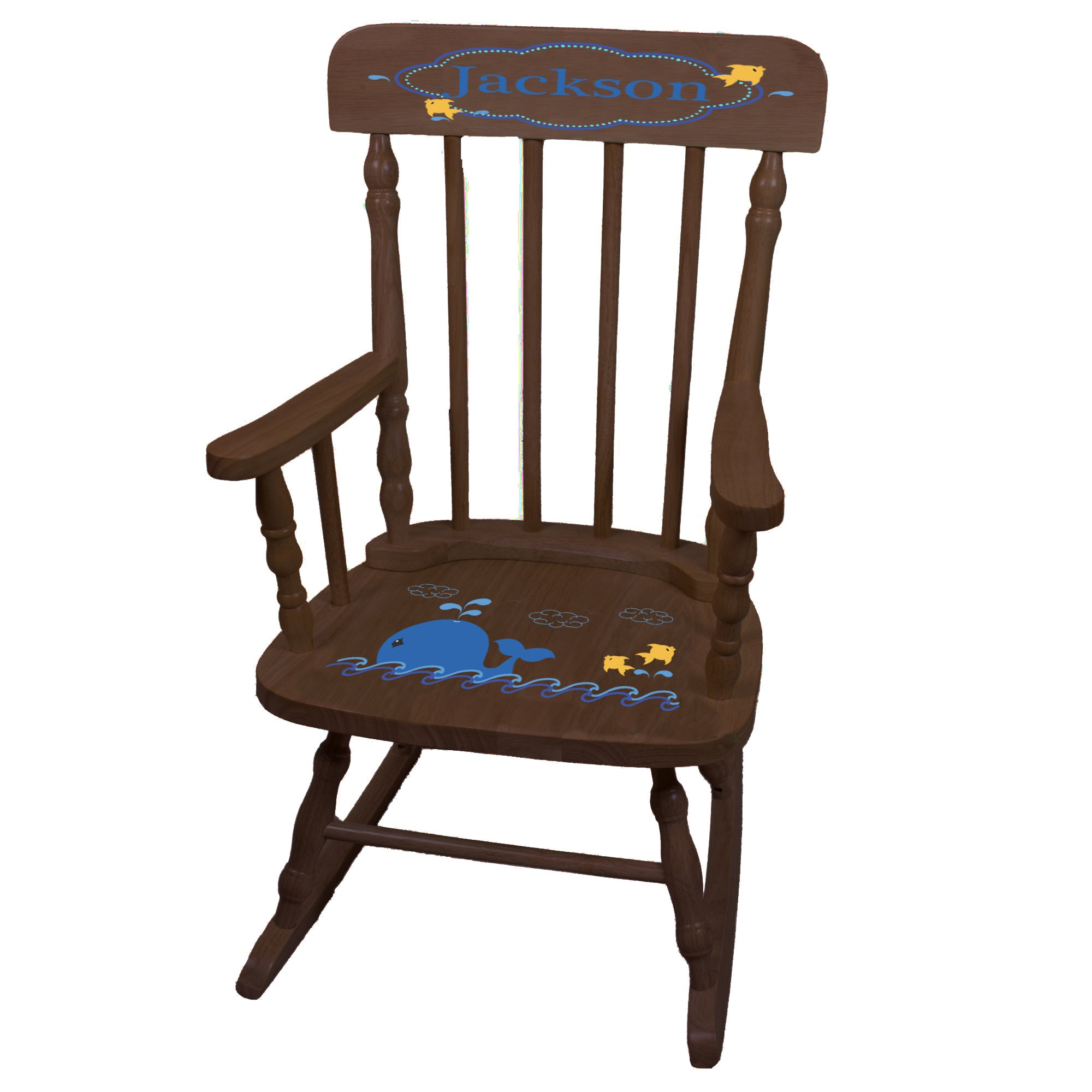 Personalized Blue Whale Espresso Childrens Rocking Chair
